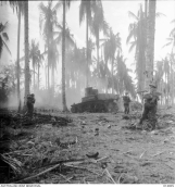 AUSTRALIAN MANNED GENERAL STUART M3 TANKS BUST JAPANESE PILLBOXES IN THE FINAL ASSAULT ON BUNA. MEN OF D COMPANY, 2/12TH BATTALION, SHOOT JAPANESE FLEEING FROM A TANK BLASTED PILLBOX. SMOKE AT LEFT IS FROM THE PILLBOX WHICH THE TANK IS ATTACKING, AT RIGHT IS A TANK BLASTED EMPTY PILLBOX. THE SOLDIER AT BACK OF TANK, PRIVATE E. R. GLOVER, WAS KILLED A FEW SECONDS AFTER THIS PICTURE WAS TAKEN. FAR RIGHT IS PRIVATE DAVIES. THE PHOTOGRAPH WAS TAKEN DURING THE ACTUAL FIGHTING.